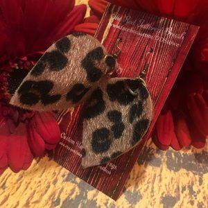 """Faux Leather Hair on hide Fur Leopard Earrings 2"""""""